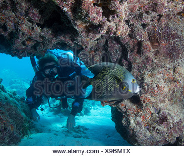Diver on Rebreather - Stock Photo