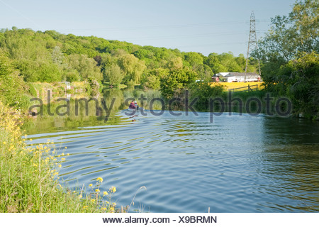 Small boat on the River Thames downstream from Pinkhill Lock near Oxford Uk - Stock Photo