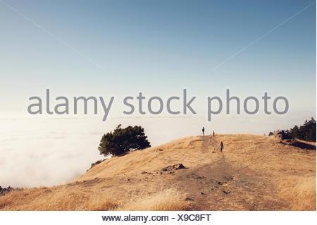 Father and two children hiking, Mount Tamalpais, California, United States - Stock Photo