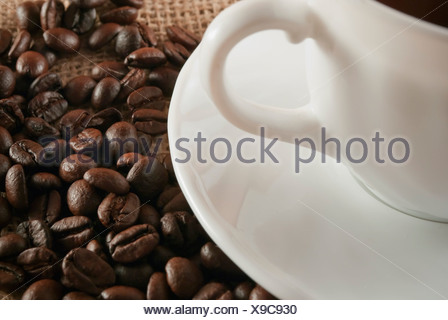 Cup of coffee with coffee beans around - Stock Photo