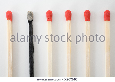 An unlit and burnt matches in a row - Stock Photo