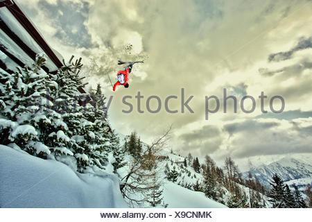Skier, jump, somersault, - Stock Photo