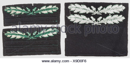Three rank-badges for the camouflage-uniform, RZM-machine-embroidered issues, green on black cloth for 'SS-Oberführer', 'SS-Obersturmführer' and 'SS-Untersturmführer', historic, historical, 1930s, 1930s, 20th century, secret service, security service, secret services, security services, police, armed service, armed services, NS, National Socialism, Nazism, Third Reich, German Reich, Germany, utensil, piece of equipment, utensils, object, objects, stills, clipping, clippings, cut out, cut-out, cut-outs, fascism, fascistic, National Socialist, Nazi, Nazi period, , Additional-Rights-Clearences-NA - Stock Photo