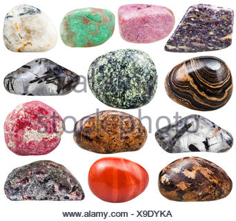 collection of natural mineral tumbled gemstones - Stock Photo