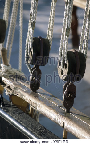 Detail of traditional sailing boat. Amsterdam, Holland - Stock Photo