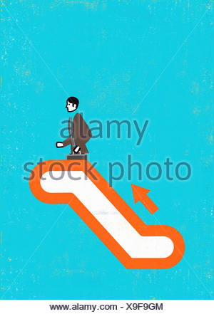Businessman on ascending escalator - Stock Photo