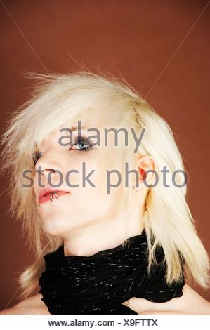 Man, Gothic, manga, blond, pierced, portrait - Stock Photo