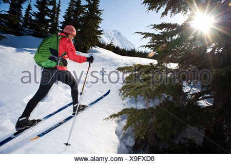 Female skier tours the Center Ridge area in Turnagain Pass of Chugach National Forest, Alaska - Stock Photo