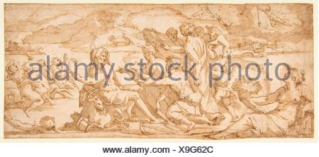 The First Fruits of the Earth Offered to Saturn. Artist: Giorgio Vasari (Italian, Arezzo 1511-1574 Florence); Date: 1555-56; Medium: Pen and brown - Stock Photo