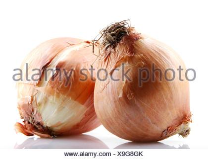 Fresh onion bulbs isolated on white background - Stock Photo