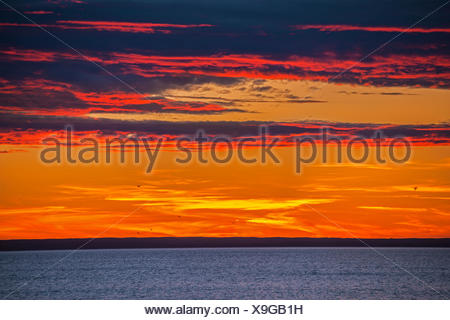 Sunset on the Atlantic Ocean Channel-Port aux Basques Newfoundland & Labrador Canada - Stock Photo