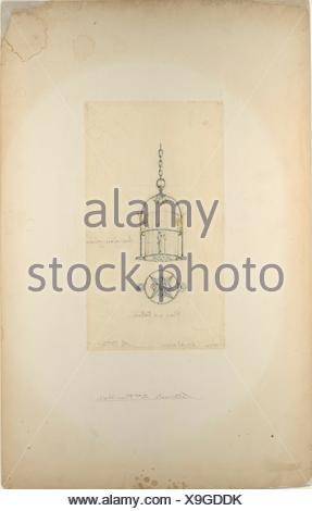 Design for hanging lantern. Artist: Louis Comfort Tiffany (American, New York 1848-1933 New York); Maker: Possibly Tiffany Glass Company (1885-92); - Stock Photo