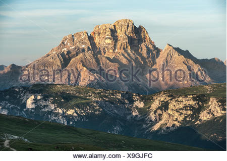 Croda Rossa d'Ampezzo, 3156 m, view from the Tre Cime di Lavaredo area, Dolomiti di Braies, Province of South Tyrol, Italy - Stock Photo