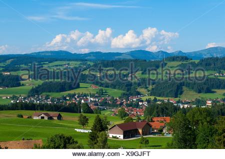 Allgaeu Allgäu Bavaria Germany Weiler-Simmerber scenery - Stock Photo