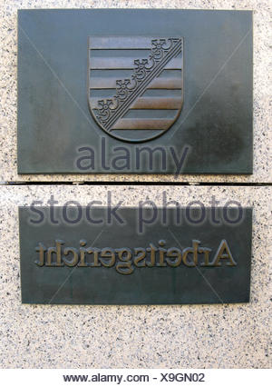 office justice jurisdiction institution labour court law shield court office - Stock Photo