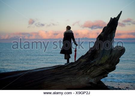 Woman leaning on umbrella standing on large driftwood tree trunk on beach - Stock Photo
