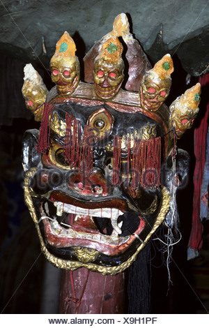 mask in the gonkhang of Spituk monastery, India, Ladakh - Stock Photo