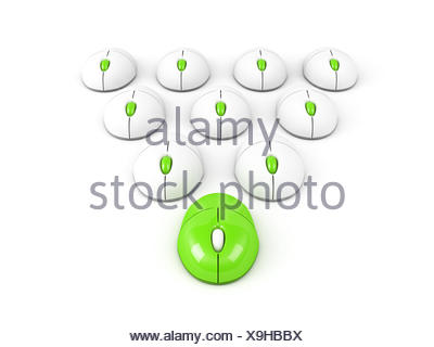 green leading computer mouse leadership conception - Stock Photo