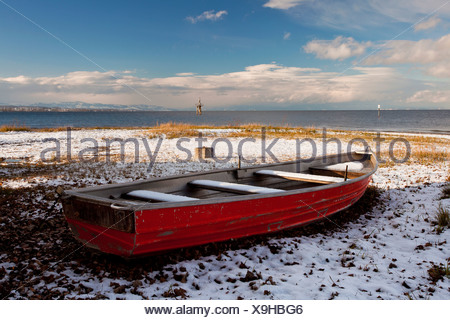 Life boat on the wintry Hoernle, a tongue of land in Konstanz, Lake Constance, Baden-Wuerttemberg, Germany, Europe - Stock Photo