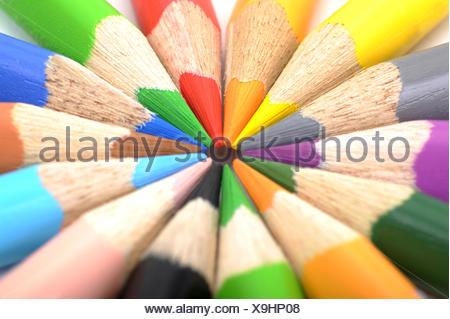 blue coloured colourful gorgeous multifarious richly coloured rainbow pencil pen style pencils colored pencils crayon blue - Stock Photo