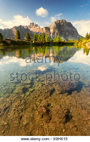 The small alpine lake Limedes in a morning in early summer. Larch and fir trees with their vivid colors stand out in contrast with the walls of Lagazuoi still partially in shadow. Dolomites, Falzarego area. - Stock Photo