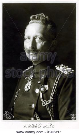 William II, 27.1.1859 - 4.6.1941, German Emperor 15.6.1888 - 9.11.1918, portrait, military postcard, 1915, ,