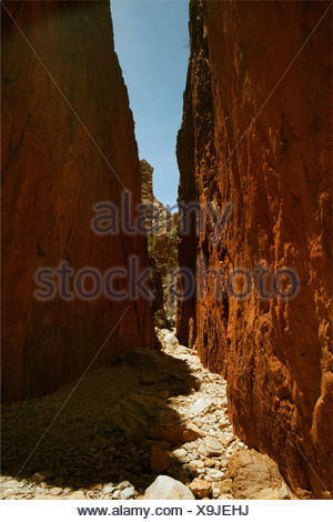 spectacular narrow rock gorge 'Simpson's Gap' of red sandstone, Australia, Northern Territory, West MacDonnell National Park - Stock Photo