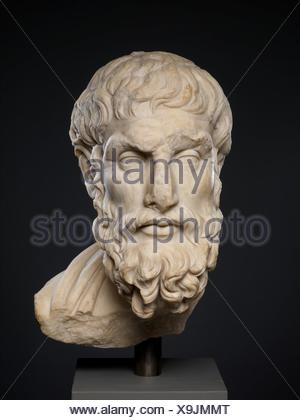 Marble head of Epikouros. Period: Imperial; Date: 2nd century A.D; Culture: Roman; Medium: Marble, Pentelic; Dimensions: 19 5/8 x 9 3/4 x 11 1/2 in. - Stock Photo