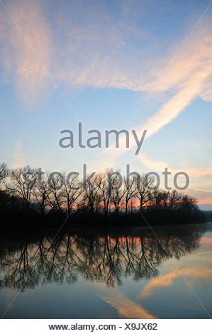Man-made lake in the morning, autumn, Wendlingen, Baden-Wuerttemberg, Germany, Europe - Stock Photo