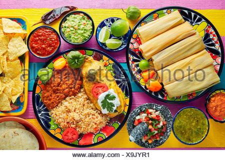 Tamale with corn leaf and filled chili pepper poblano guacamole sauces. - Stock Photo
