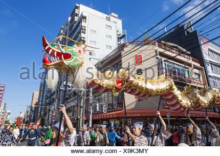 Japan, Honshu, Kanto, Tokyo, Asakusa, Jidai Matsurai Festival, Dragon Dance - Stock Photo