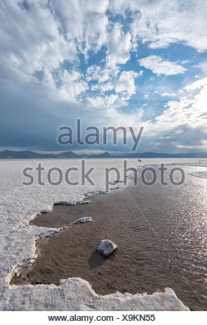 Utah, Wendover, Bonneville Salt Flats, - Stock Photo