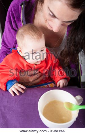 six months age blonde caucasian baby red bib in woman mother purple velvet jacket arms eating puree. - Stock Photo