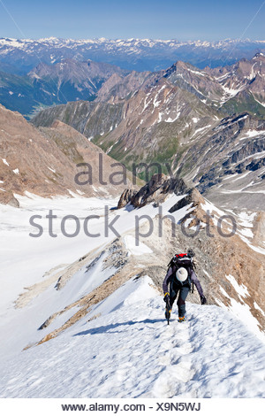 Mountaineer climbing Hochfeiler mountain, Pfitschertal valley and Wipptal valley at the back, province of Bolzano-Bozen, Italy - Stock Photo