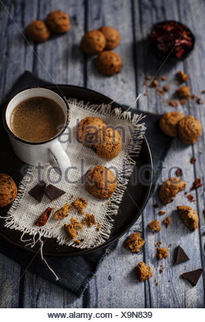 Bittersweet chocolate cookies with dried sweet pepper - Stock Photo