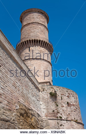 Tower of the Fort of St. Jean at the entrance to the old port, Vieux Port, , Bouches-du-Rhone, Provence-Alpes-Cote d'Azur - Stock Photo