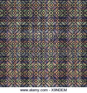 Multicolored Ethnic Check Seamless Pattern - Stock Photo