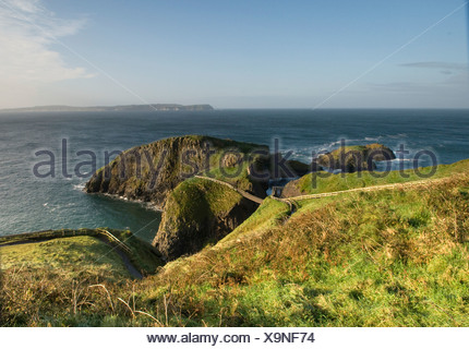Northern Ireland, Causeway Coast, Carrick-A-Rede rope bridge - Stock Photo