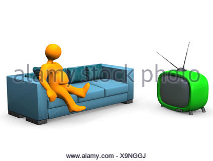 Fat woman watching TV - cartoon people character isolated illustration Stock Vector ...
