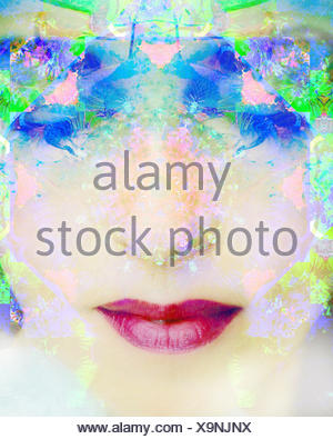 a montage of a portrait of a woman with closed eyes and ornaments out of flowers - Stock Photo