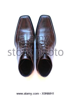 brown men's shoes - Stock Photo