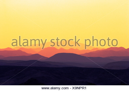 Sunset over mountains, coast Ghalib, Egypt - Stock Photo