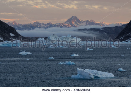Icebergs in the Johan-Petersen-Fjord, East-Greenland, Greenland - Stock Photo
