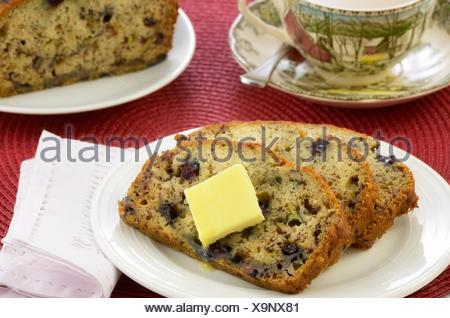 cup, bread, tea, banana, bilberries, blueberries, homemade, baked, loaf, cup, - Stock Photo
