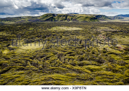 Aerial view, moss-covered lava field, Craters of Laki or Lakagígar, Icelandic Highlands, Southern Iceland, Suðurland, Iceland - Stock Photo