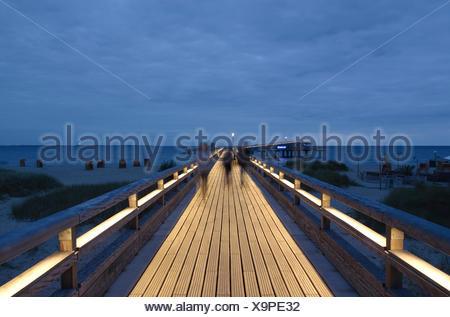 Catwalk, pier, Heiligenhafen, Baltic Sea, Schleswig-Holstein, Germany, Europe, bridge, evening - Stock Photo