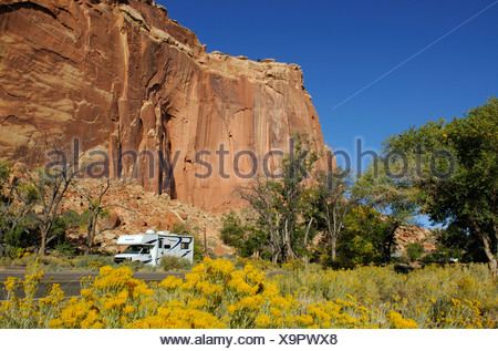 Camper, Castle, Capitol Reef National Park, Utah, USA - Stock Photo