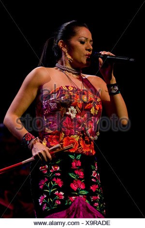 The Mexican singer Lila Downs live in the concert hall of the KKL Lucerne, Switzerland - Stock Photo