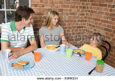 A family having breakfast - Stock Photo