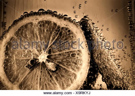 Lemon slices in fizzy water old style - Stock Photo